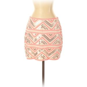 Express Sequin Tribal Stretch Lined Mini Skirt Med